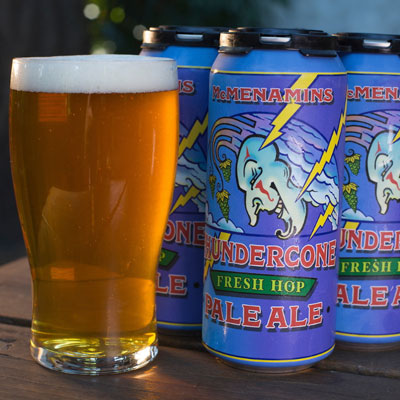 Thundercone Fresh Hop IPA in cans