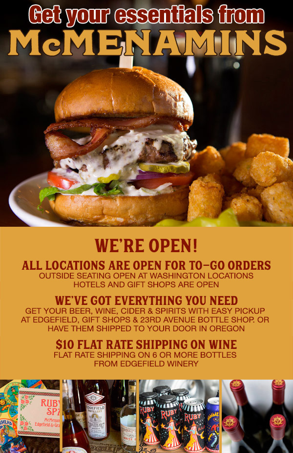 We're Open for Takeout!
